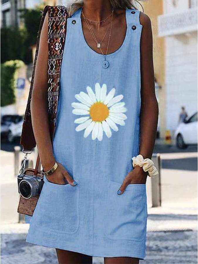 Crew Neck Floral Sleeveless One-Pieces