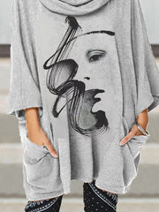 Gray Casual Turtleneck 3/4 Sleeve Abstract Shirts & Tops