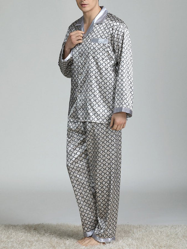 Men's Imitation Silk Long-Sleeved Homewear