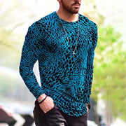 Men's Animal Pattern Print Long Sleeve T-shirt