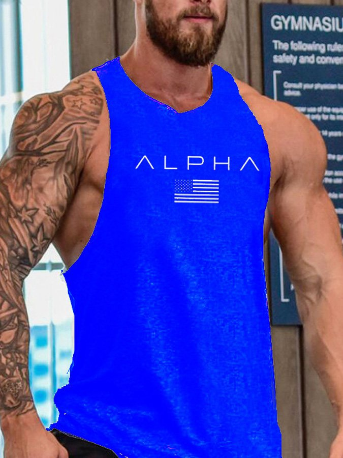 Men's sleeveless cotton jersey sports vest