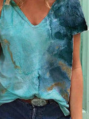 Blue Short Sleeve V Neck Ombre/tie-Dye Printed Shirts & Tops