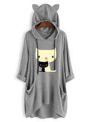 Casual Print Cat Pockets Long Sleeve Hoodies
