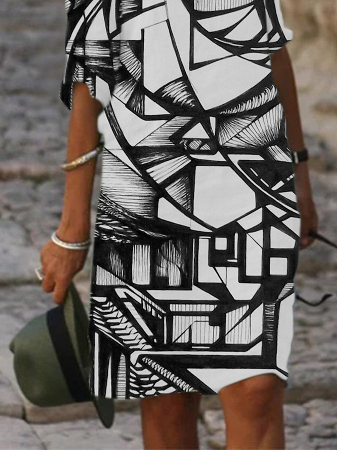 Abstract Long Sleeve Dresses