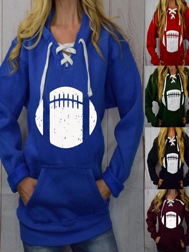 Vintage Hoodie Long Sleeve Football Printed Plus Size Statement Casual Sweatshirt