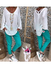 White Patchwork Sweet Shirts & Tops