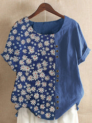 Printed Short Sleeve Cotton Floral Shirts & Tops