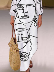 White Long Sleeve Printed V Neck Shift Dress