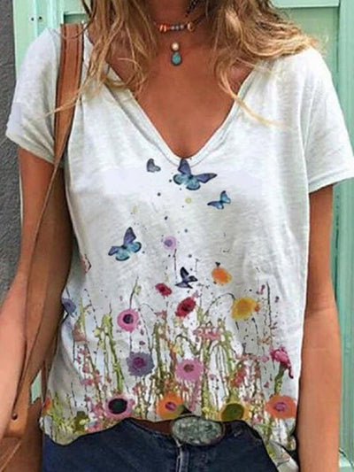 Casual white butterfly print V-neck short sleeve top