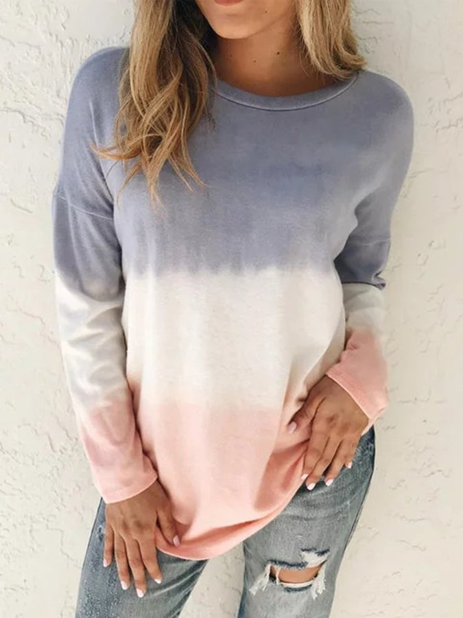 Ombre/tie-Dye Long Sleeve Casual Gradient Shirts & Tops