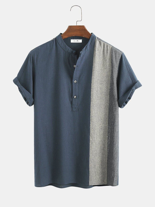 Blue V Neck Cotton Casual Shirts & Tops