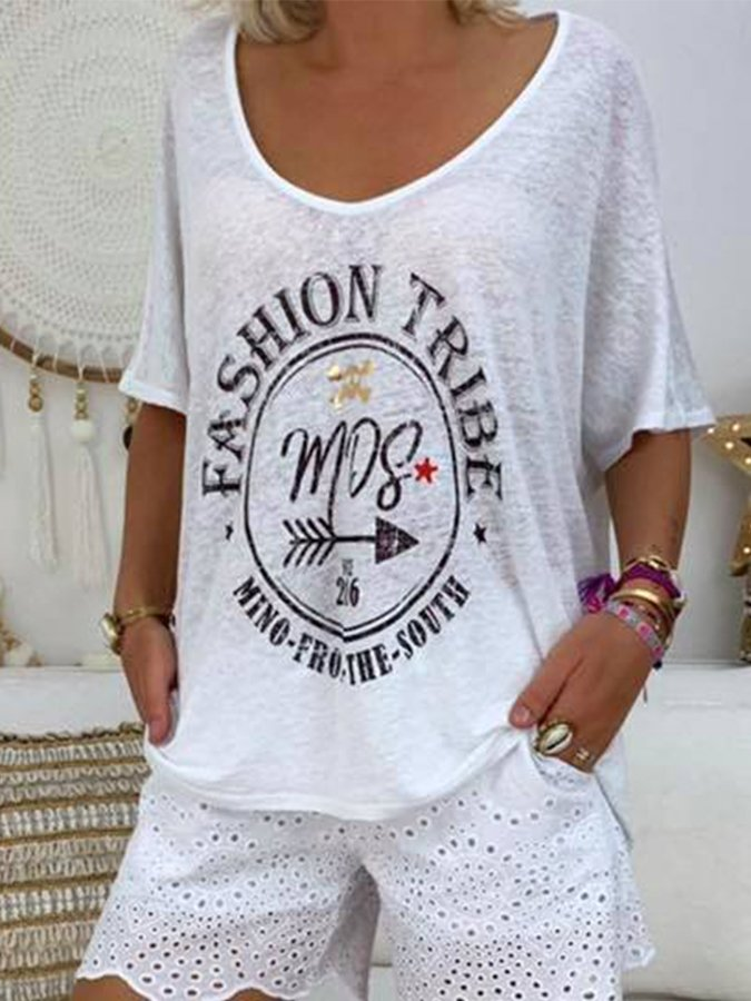White Short Sleeve Cotton Geometric Printed Shirts & Tops