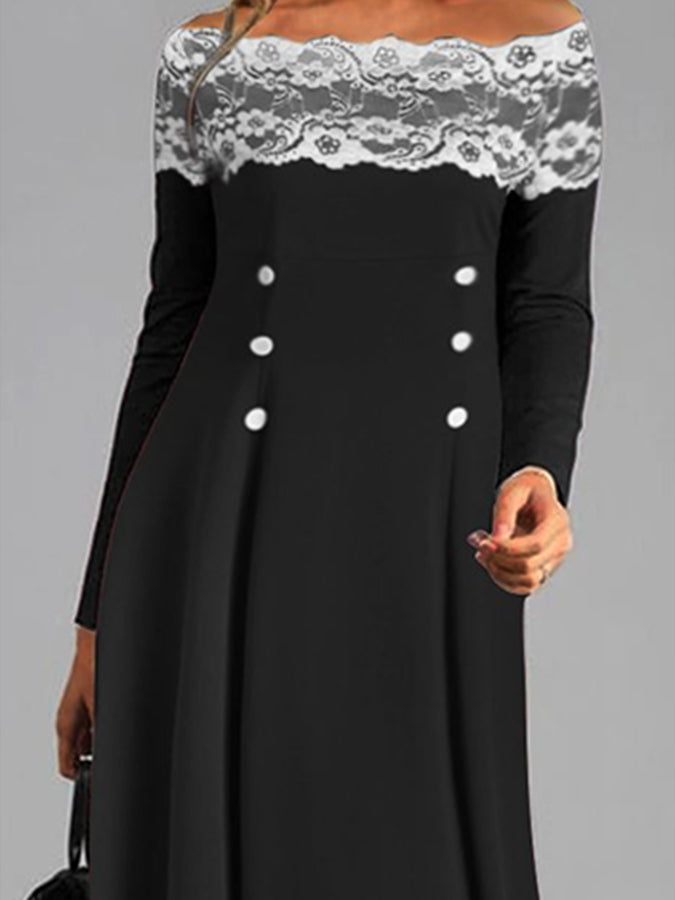 Elegant and Generous One-neck Lace Long Sleeve Dress