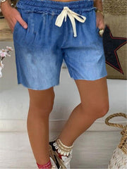 Blue Casual Solid Shift Cotton Pants
