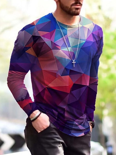 Men's Geometry Pattern Print Long Sleeve T-shirt