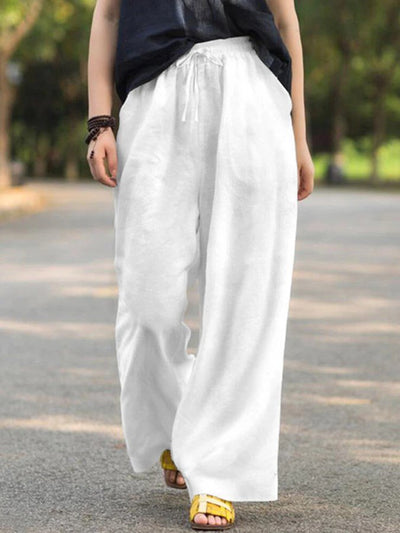 White Casual Shift Linen Pants