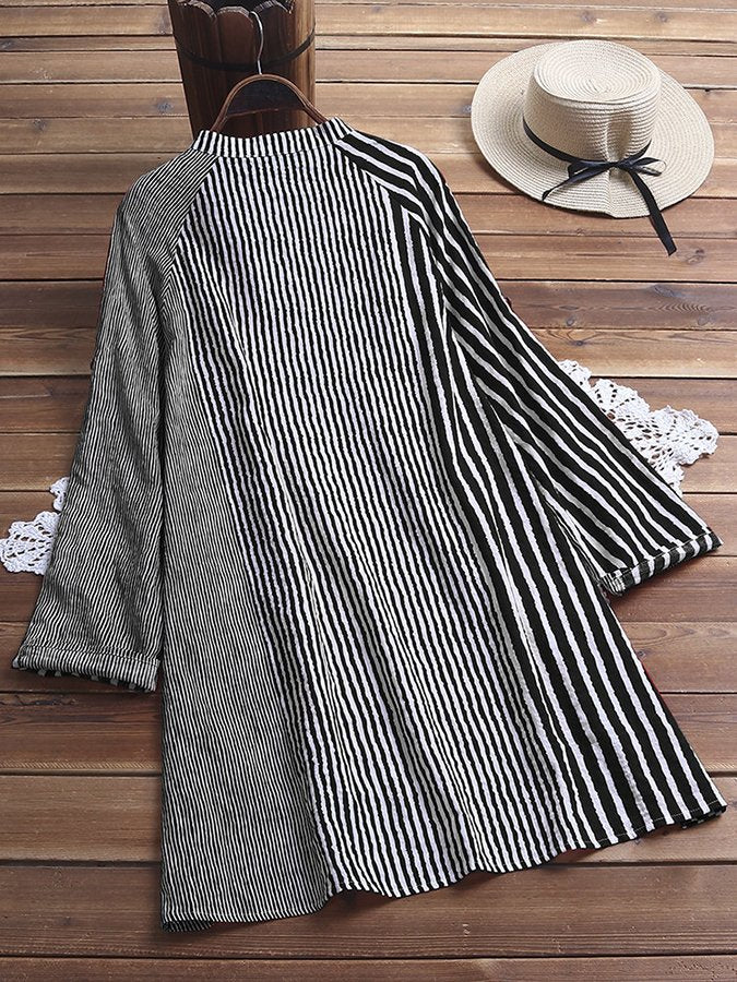 Vintage Striped Patchwork Pocket High Low Plus Size Shirt