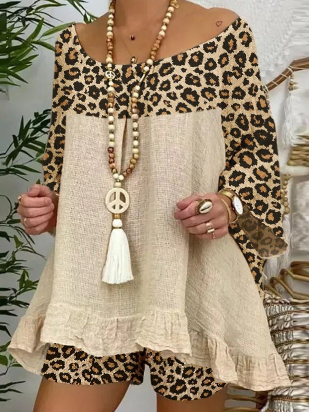 Khaki Casual Shift Long Sleeve Leopard Print Suits