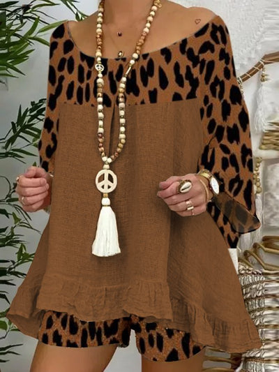 Brown Scoop Neckline Long Sleeve Shift Leopard Print Suits