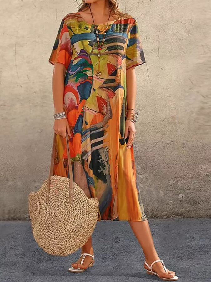 Abstract print pattern casual dress