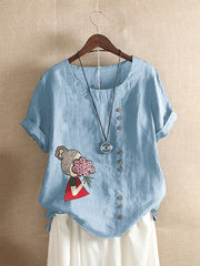 Casual Short Sleeve Buttoned Shirts & Tops