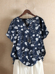 V Neck Floral Casual Short Sleeve Shirts & Tops