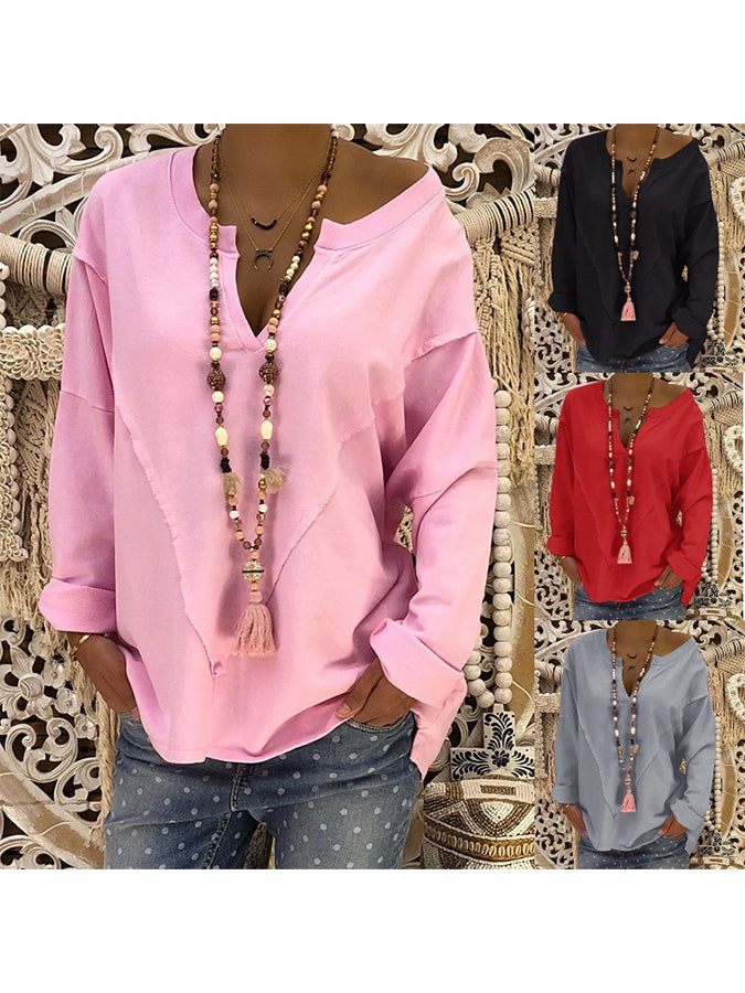 Casual Long Sleeve V Neck Blouses&shirts