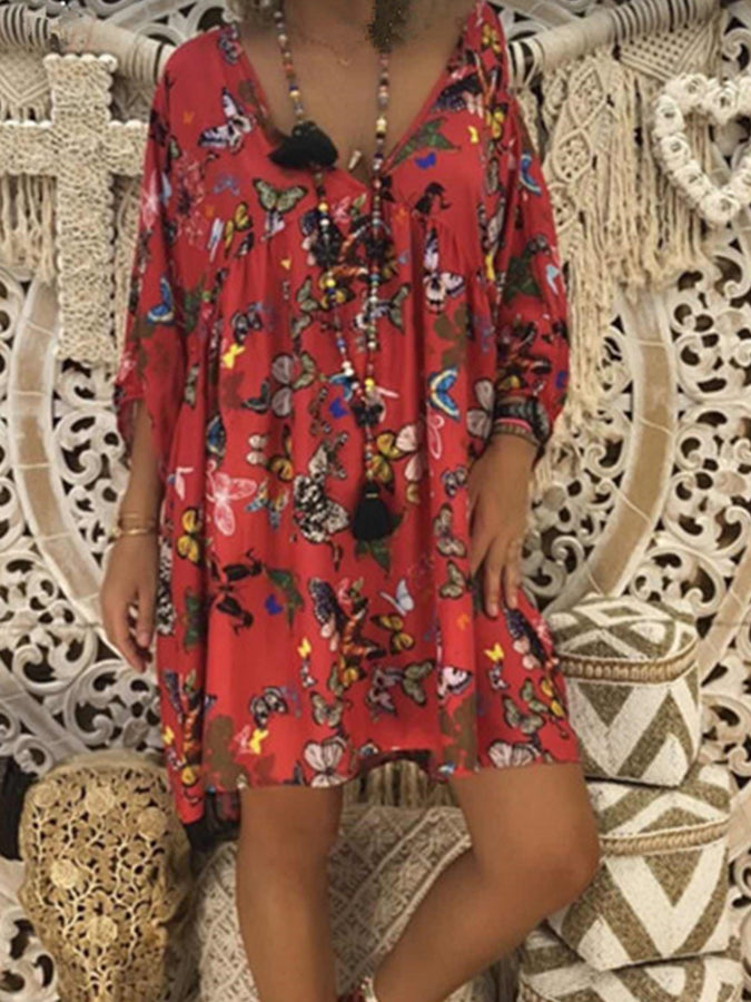 Shift Floral V Neck Long Sleeve Dresses