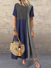Purplish Blue Linen A-Line Short Sleeve Crew Neck Dresses