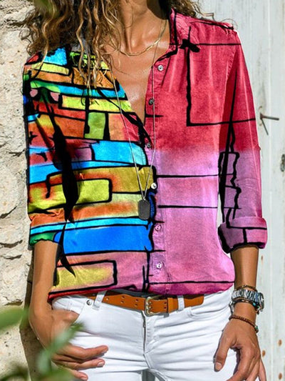 Multicolor Long Sleeve Shift Shirts & Tops