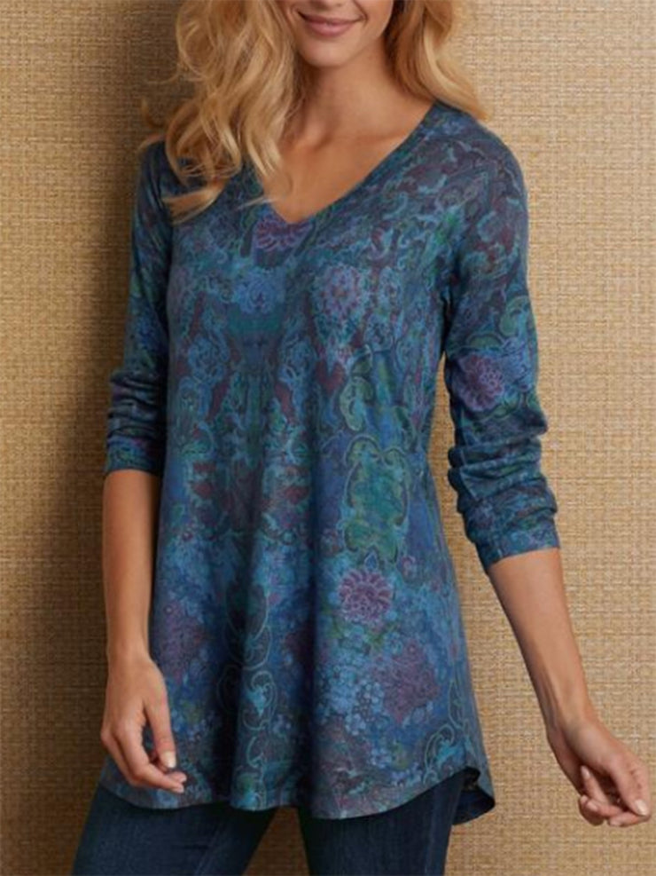 Women Floral-Print Long Sleeve Sweet Tops