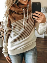 Green Shift Casual Stripes Hoodie Sweatshirt