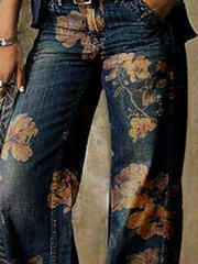 Blue Casual Floral Shift Pants