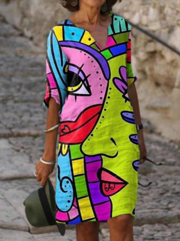 Abstract Cotton-Blend Half Sleeve Dresses