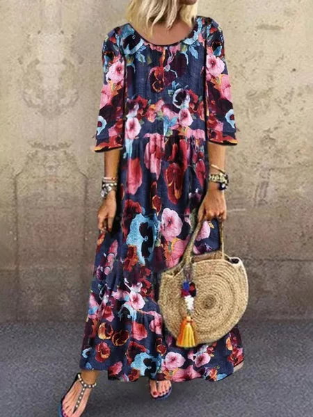 Red V Neck Half Sleeve Floral Dresses