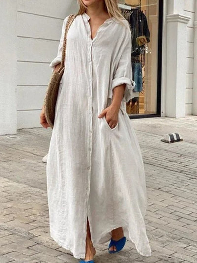 Buttoned Casual Long Sleeve Linen Dresses