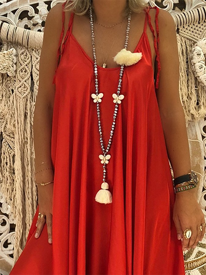 Holiday Sleeveless Plain Spaghetti Plus Size Dress