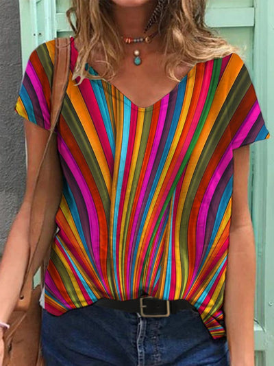 Casual Stripe Colorblock V Neck Short Sleeve Tops
