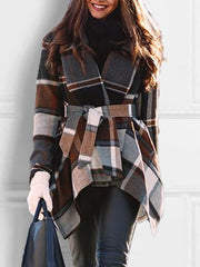 Coffee Casual Long Sleeve A-Line Outerwear