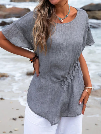 Casual Short Sleeve Plain Crew Neck Tops