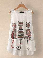 Cartoon Cat Print Sleeveless Tank Tops Women