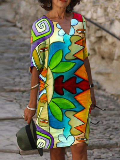 Casual Colorblock Abstract Printed V Neck Dresses