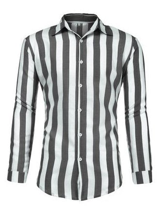Men's Casual Long Sleeve Striped Shirts