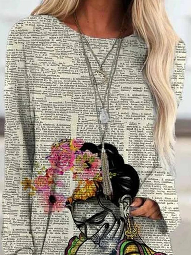 Women's Frida Kahlo Upcycled Dictionary Art Print Casual Long Sleeve T-Shirt