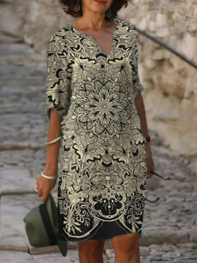 Casual Tribal Printed V Neck Dresses