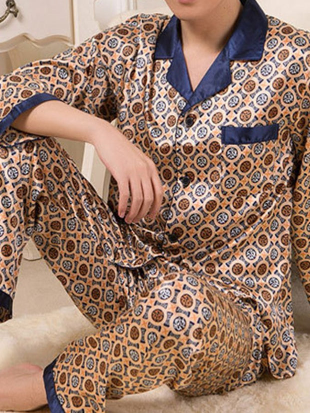 Men's Casual Printed Pajamas Suit Home Service