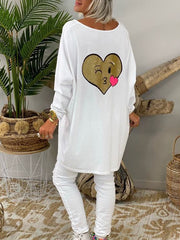 White Cartoon Crew Neck Shift Casual Shirts & Tops