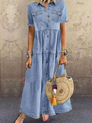 Blue Denim Pockets Paneled Shirt Collar Vintage Solid Dresses