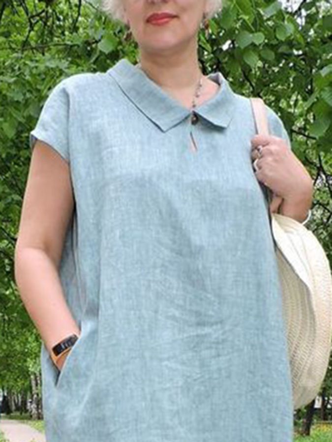 Short Sleeve Cotton Shirt Collar Casual Dress