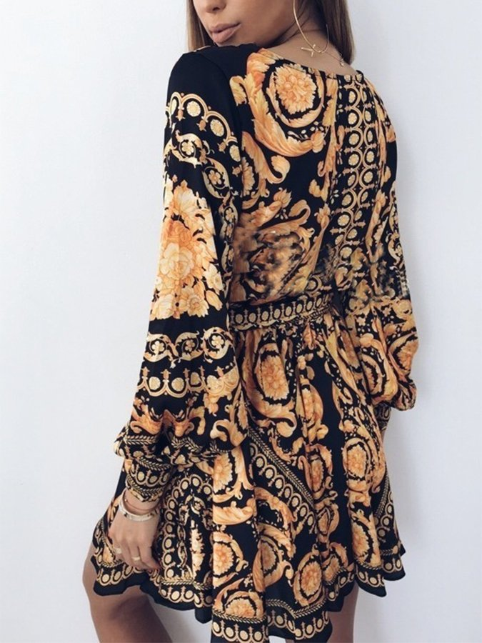 A-Line Floral V Neck Long Sleeve Dresses